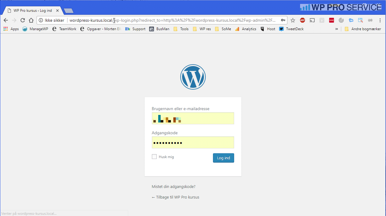 wp login skærm