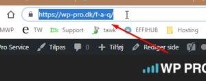 Marker og kopier adresse fra browseren